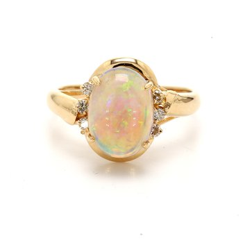 White Opal Solitaire Ring