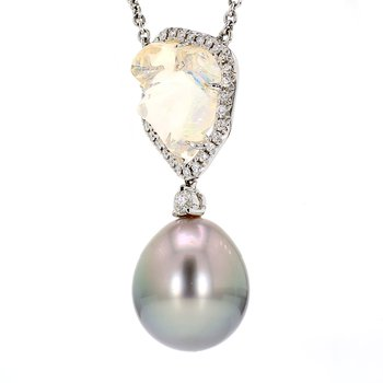 Black South Sea Pearl & Opal Pendant