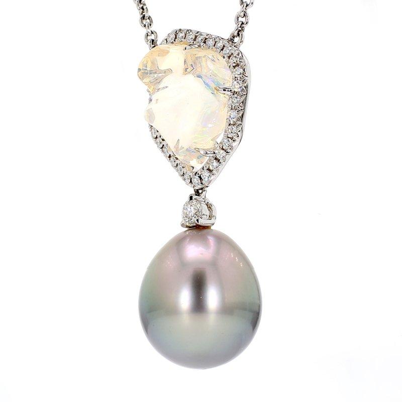 Mikimoto Black South Sea Pearl & Opal Pendant