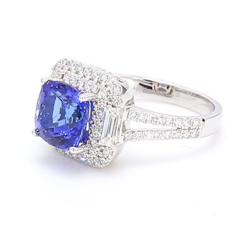 Halo Tanzanite Ring