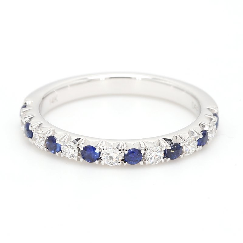 Spicer Greene Straight Diamond and Sapphire Wedding Band