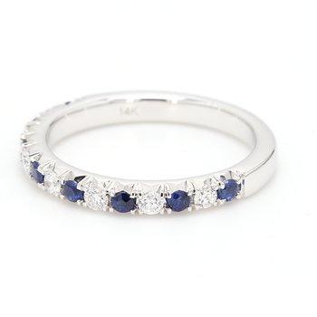 Straight Diamond and Sapphire Wedding Band