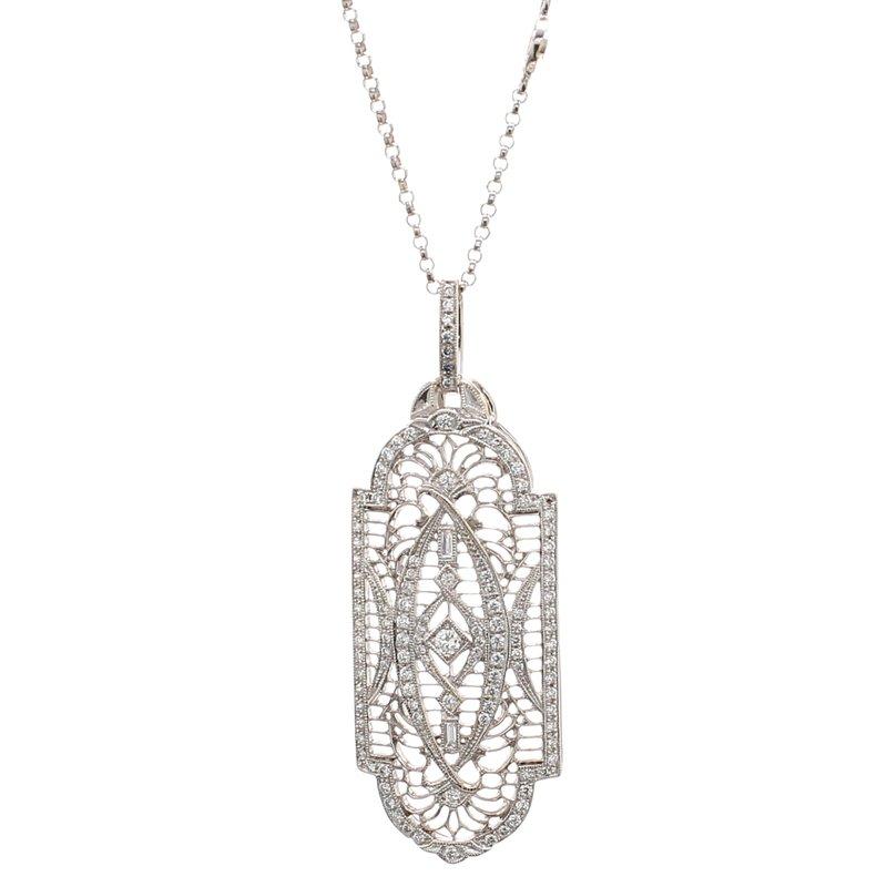 Estate Filigree Diamond Pendant
