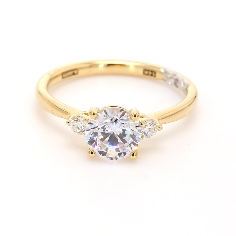 A.Jaffe 3 Stone Semi Mount Engagement Ring