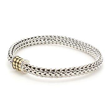Gold Dot Silver Bracelet
