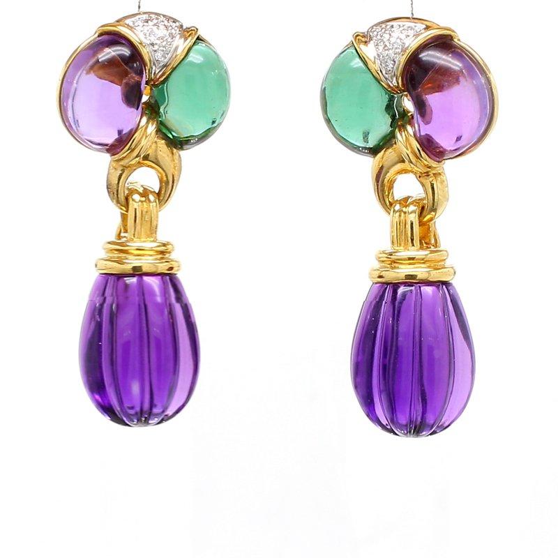Estate Tourmaline & Amethyst Drop Earrings