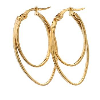 Yellow Gold Double Hoop Earrings