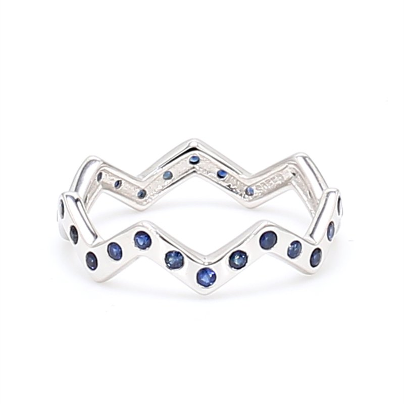 Color by Spicer Greene Zig Zag Stackable Sapphire Ring