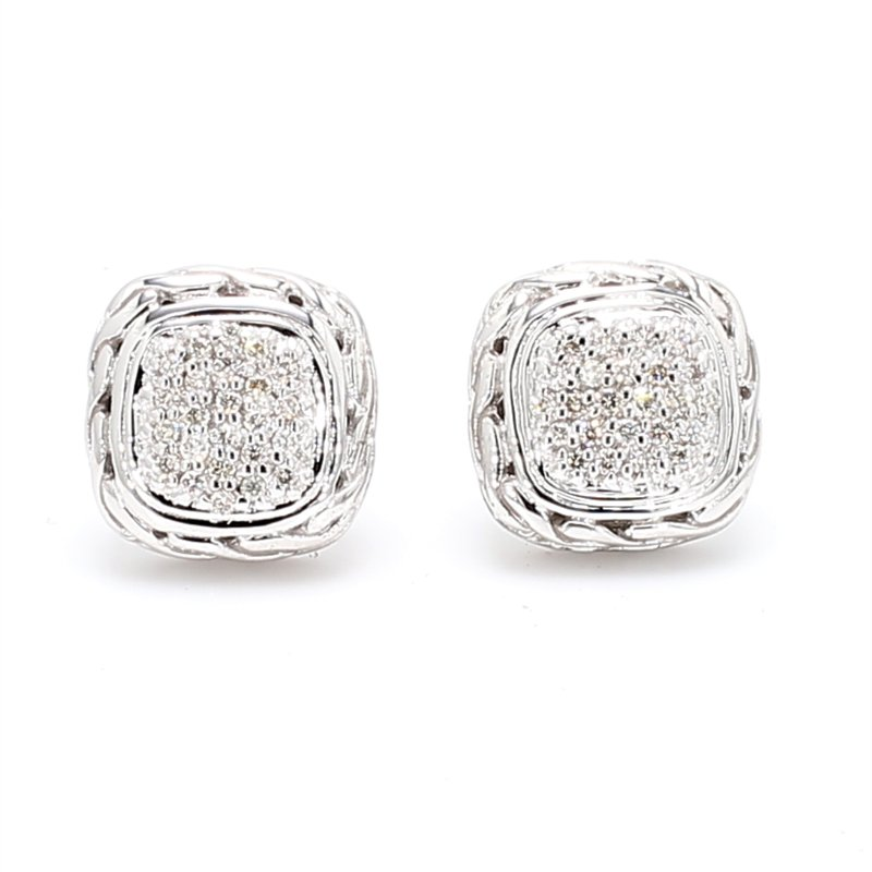 John Hardy Pave Diamond Stud Earrings