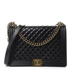 Pre-Owned Luxury Handbags Chanel Glazed Calfskin Quilted Large Boy Flap