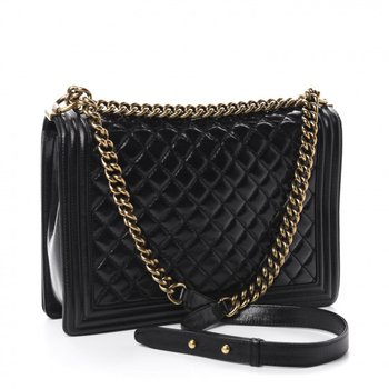 Chanel Glazed Calfskin Quilted Large Boy Flap