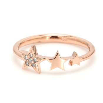 Rose Gold & Diamond Star Ring
