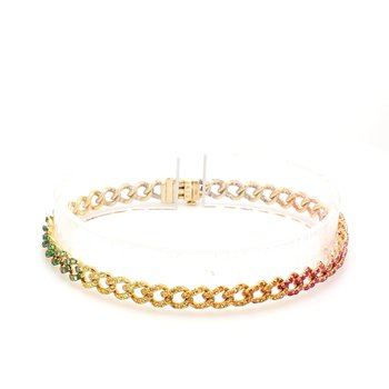 Rainbow Gemstone Curb Bracelet