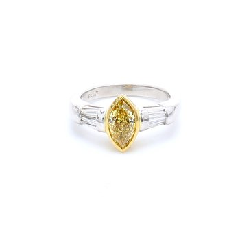 Marquise Solitaire with Diamonds Engagement Ring