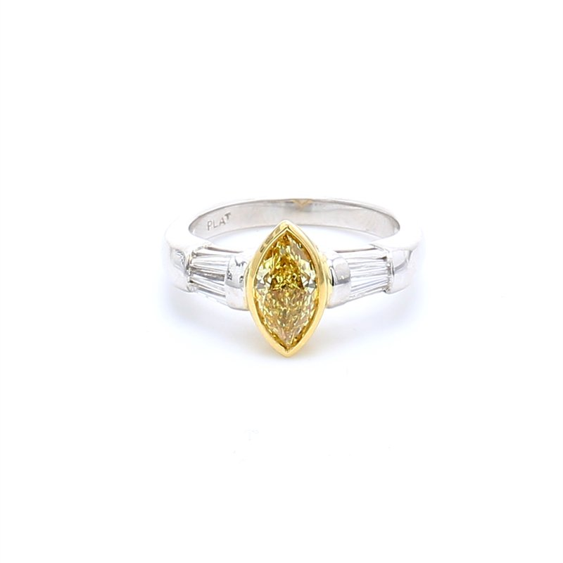 Estate Marquise Solitaire with Diamonds Engagement Ring