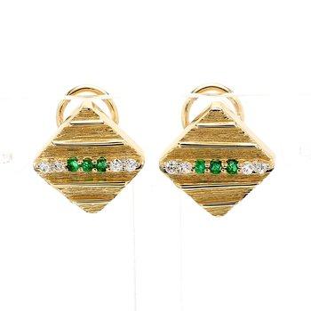 Emerald Omega Back Earrings