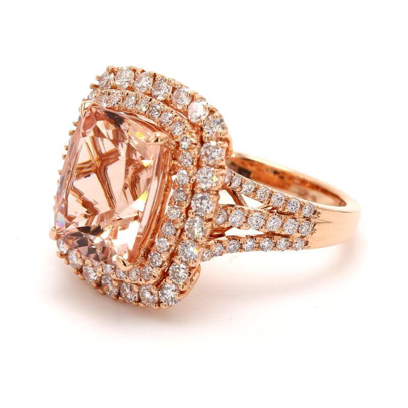 Color by Spicer Greene Morganite Halo Ring