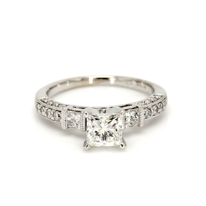 Estate Princess Cut Solitaire with Diamonds Engagement Ring