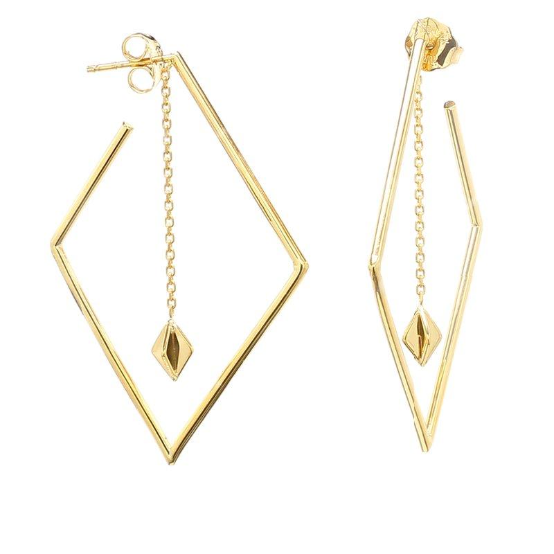 Spicer Greene Yellow Gold Drop Hoop Earrings