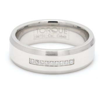 Men's White Cobalt Diamond Wedding Band