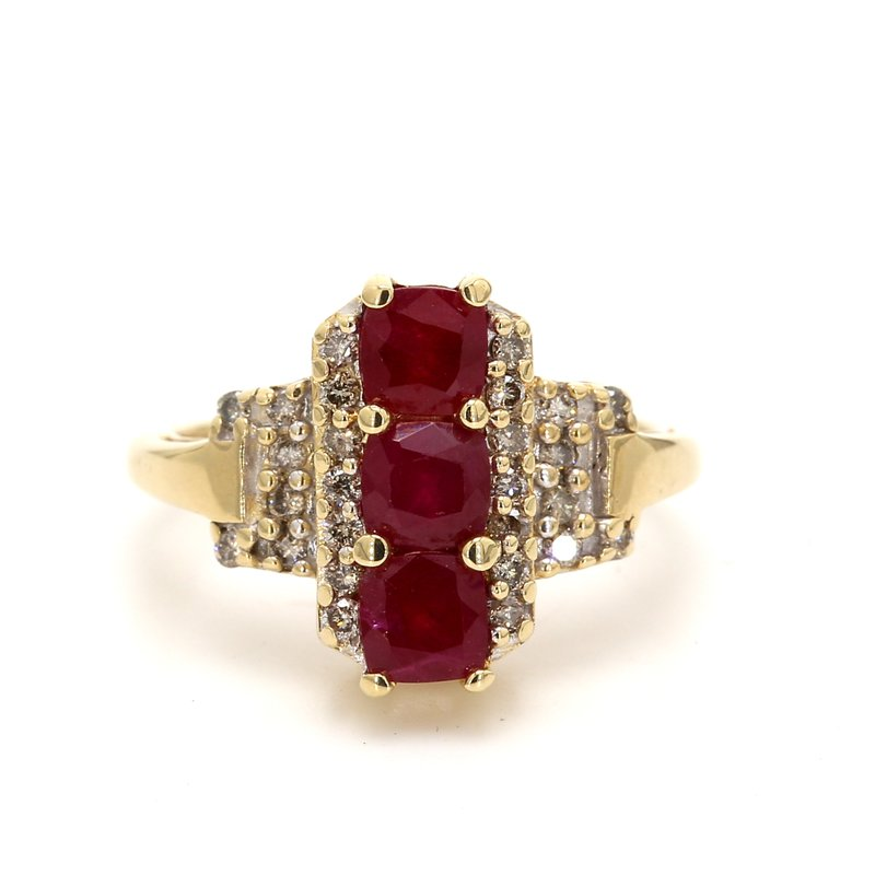 Estate Ruby 3 Stone Ring