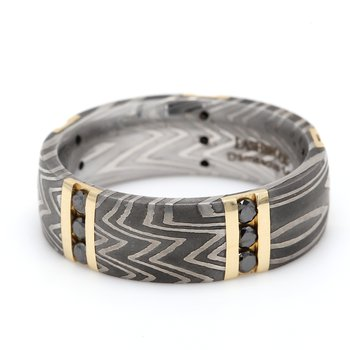 Damascus Steel & Gold Wedding Band