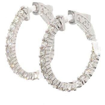 One Pair Of Hoop Diamond Earri
