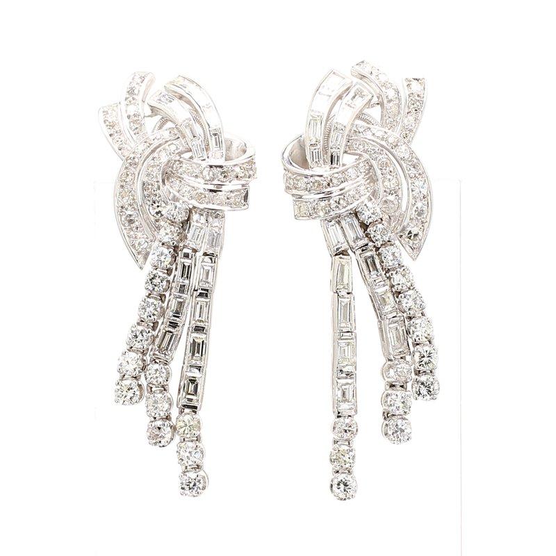 Estate Diamond Clip On Drop Earrings