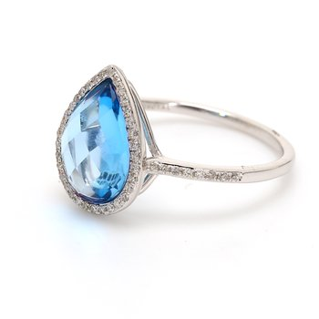 Topaz Halo Ring