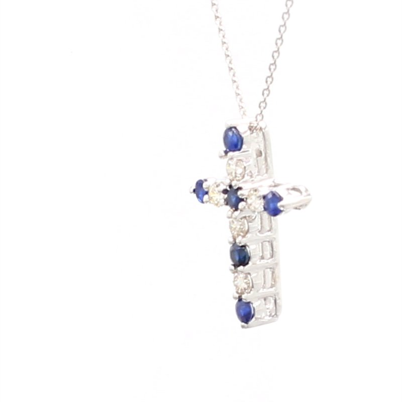 Color by Spicer Greene Sapphire Cross Pendant