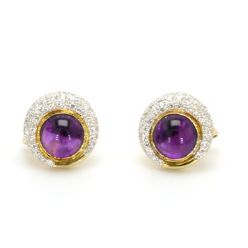 Amethyst Omega Back Earrings