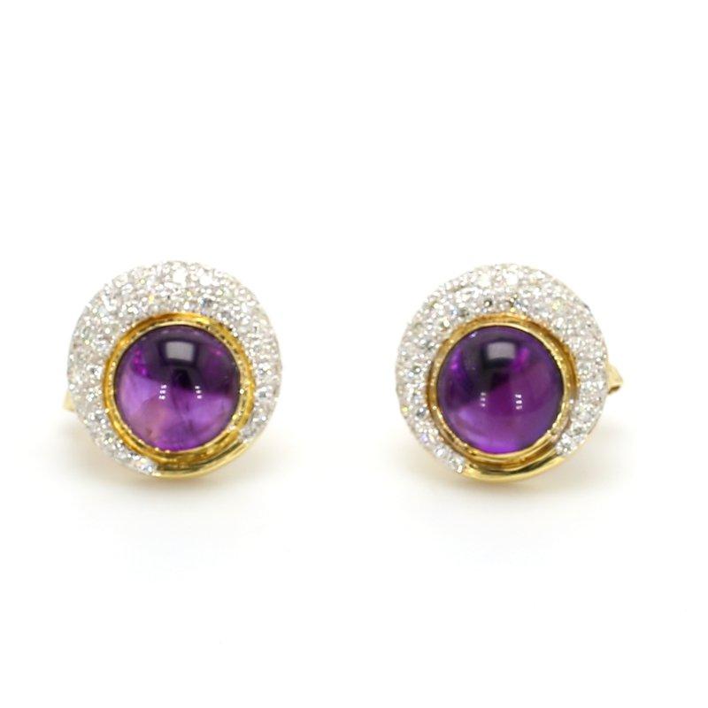 Estate Amethyst Omega Back Earrings