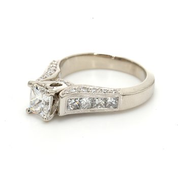 Princess Cut Solitaire with Diamonds Engagement Ring