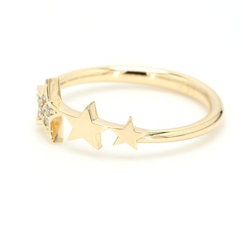 Gold & Diamond Star Ring