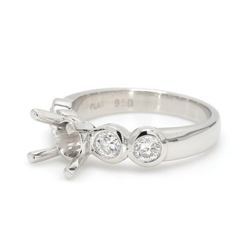 5 Stone Platinum Semi Mount Engagement Ring
