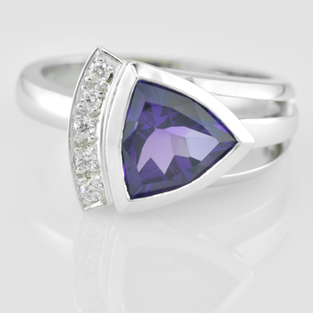 Faini Custom Trillion Cut Amethyst Diamond Ring