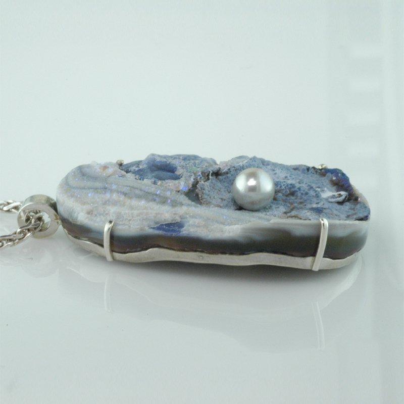 Faini Custom Druzy Quartz & Pearl Pendant