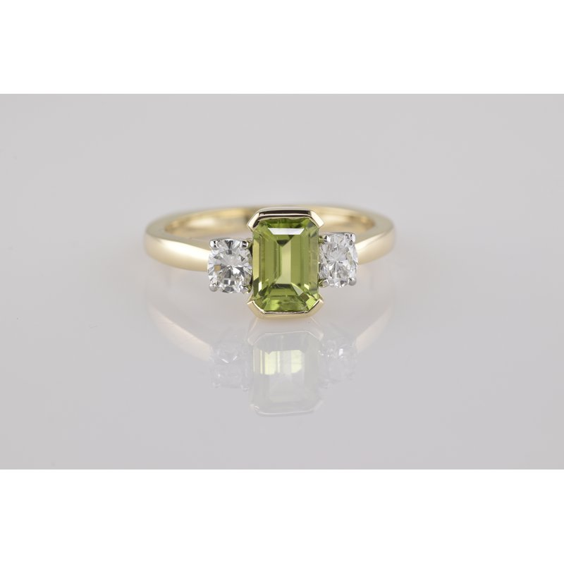 Faini Peridot and Diamond Three Stone Ring