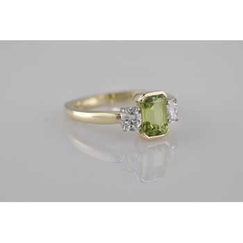 Peridot and Diamond Three Stone Ring