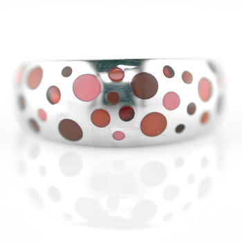Silver Multi-Color Red Enamel Ring