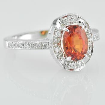 Faini Custom Padparadscha Chatham Sapphire Ladies ring