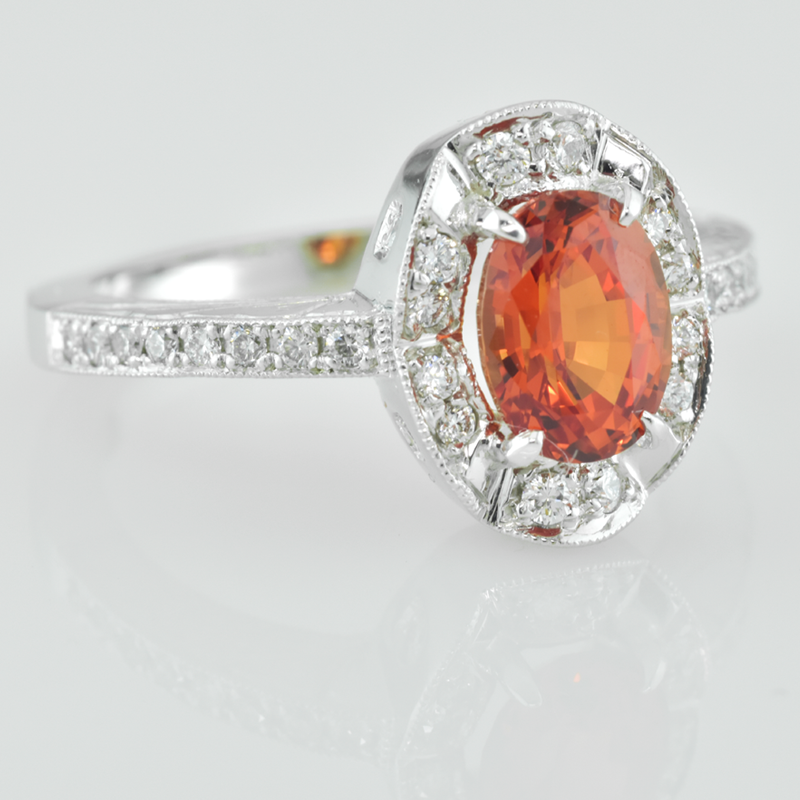 Faini Faini Custom Padparadscha Chatham Sapphire Ladies ring