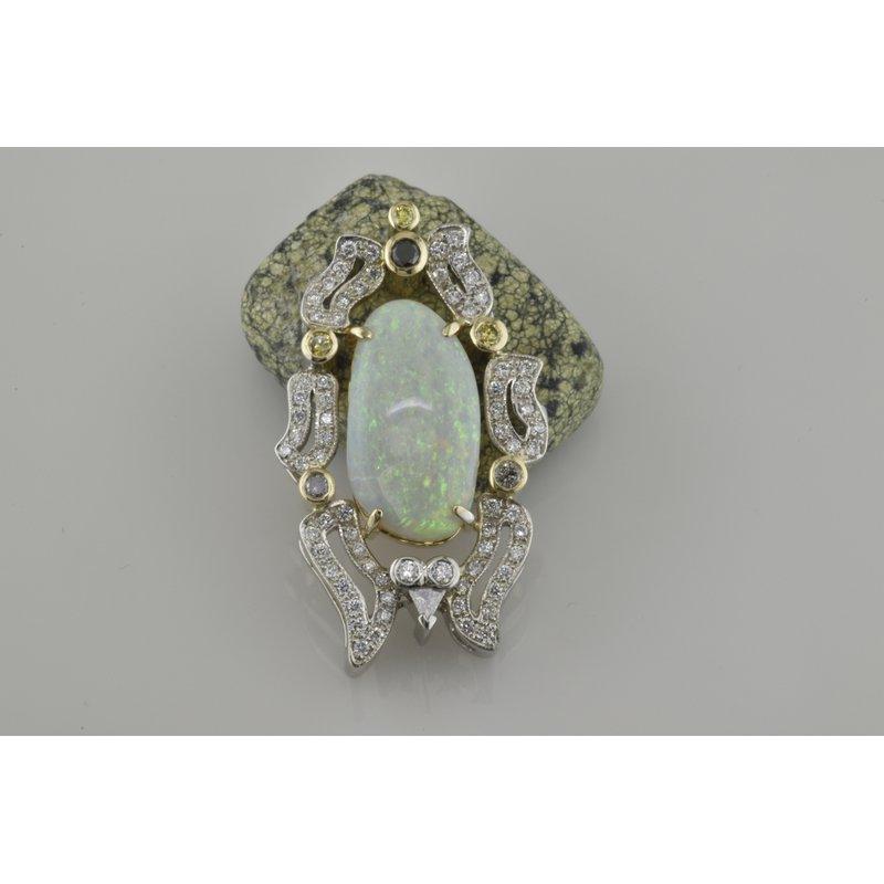 Faini Custom Opal and Diamond Pendant