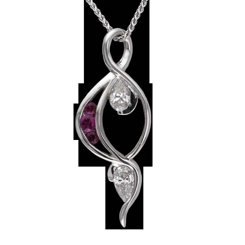 Faini Custom Diamond and Ruby Pendant