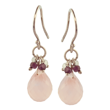 Sterling Silver Rose Quartz Briolette Drop Earrings