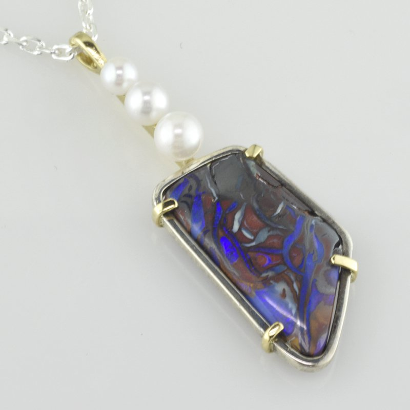 Faini Boulder Opal Pendant with Pearls