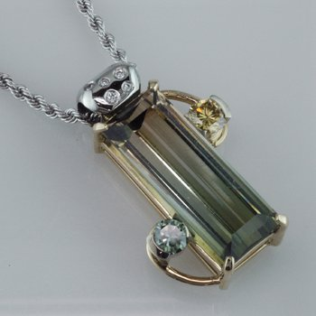 Bi-colored Tourmaline Pendant