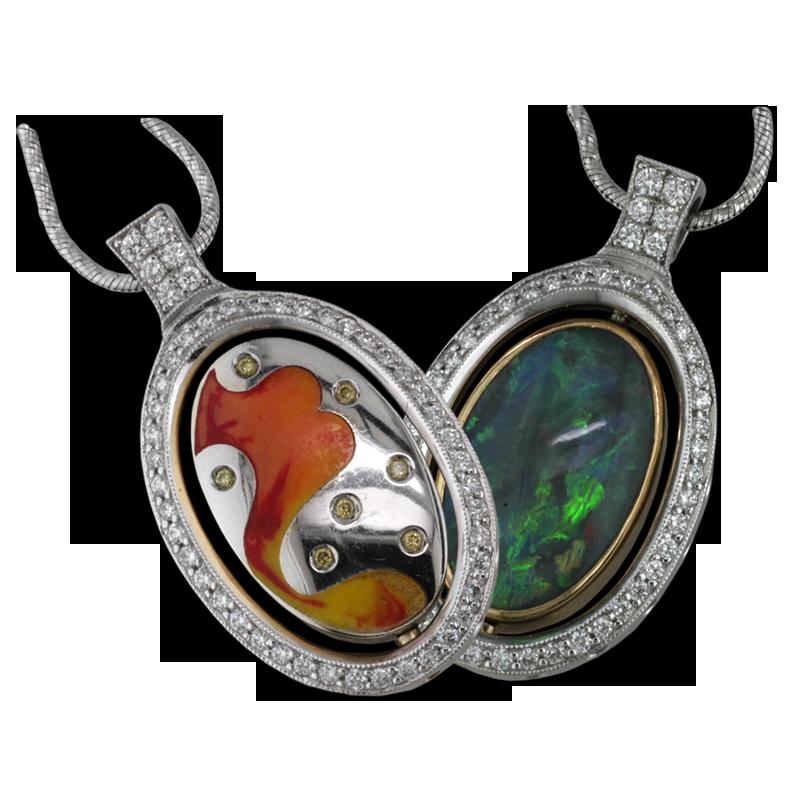 Faini Reversible Opal and Enamel Pendant