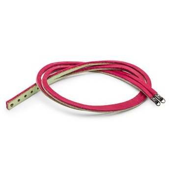Leather Bracelet Cherry/ Sage Green
