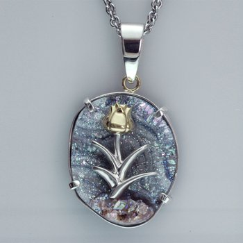 Custom Drusy Quartz Pendant with Floral Design